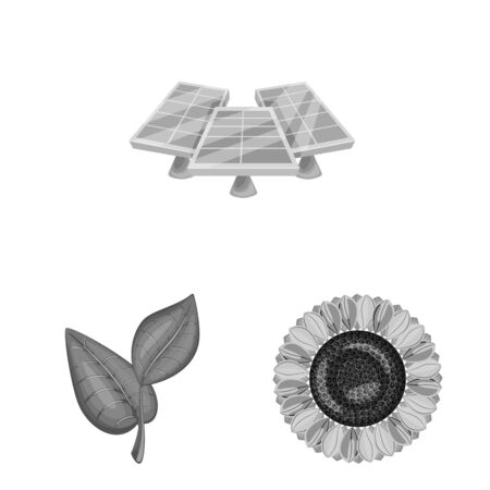 Vector illustration of organic and nature symbol. Set of organic and panel stock vector illustration.