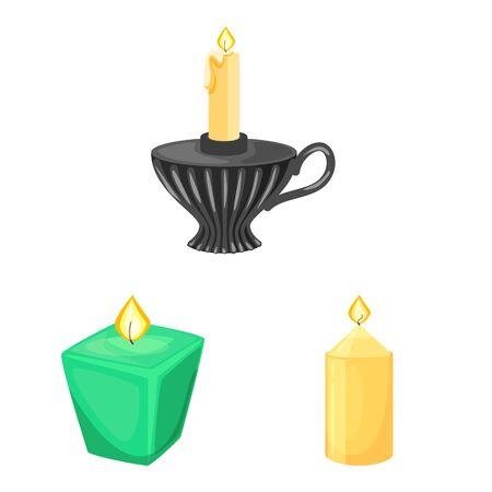 Vector design of light and wax. Set of light and ceremony vector icon for stock. Фото со стока - 129982176