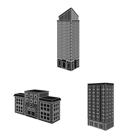 Isolated object of architecture and estate icon. Set of architecture and build stock vector illustration.