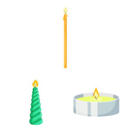 Vector illustration of light and wax. Set of light and ceremony stock symbol for web. Иллюстрация