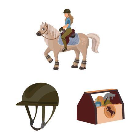 Vector design of horseback and equestrian. Set of horseback and horse stock vector illustration.