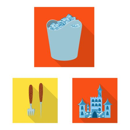 Vector illustration of texture and frozen icon. Set of texture and transparent vector icon for stock.