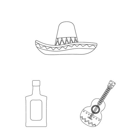 Vector illustration of Mexico and tequila sign. Set of Mexico and fiesta vector icon for stock.