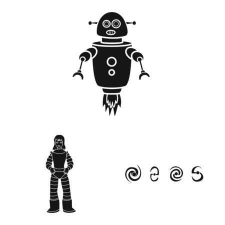 Isolated object of colonization and sky. Set of colonization and galaxy stock symbol for web. Illustration
