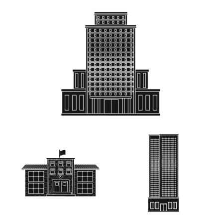 Isolated object of modern and estate symbol. Set of modern and building vector icon for stock.