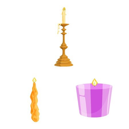 Isolated object of light and wax symbol. Collection of light and ceremony vector icon for stock. Фото со стока - 129982075