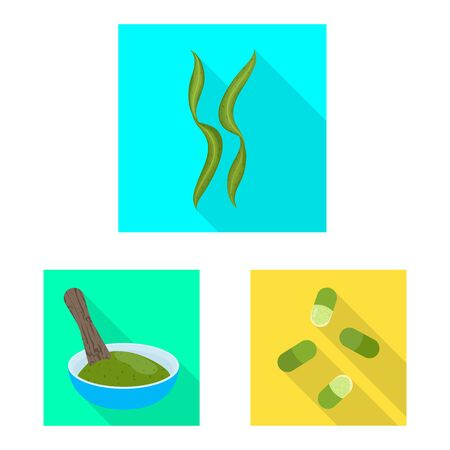 Vector design of protein and sea. Set of protein and natural vector icon for stock.