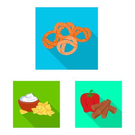 Isolated object of taste and seasonin symbol. Set of taste and organic stock symbol for web. Vettoriali