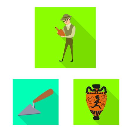 Vector illustration of story and items. Set of story and attributes vector icon for stock. Иллюстрация