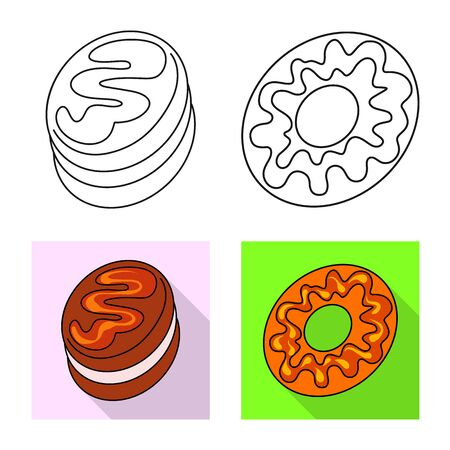 Vector design of confectionery and culinary symbol. Collection of confectionery and product stock vector illustration.