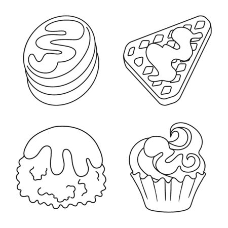 Vector design of sweet and product symbol. Set of sweet and caramel stock vector illustration. Çizim