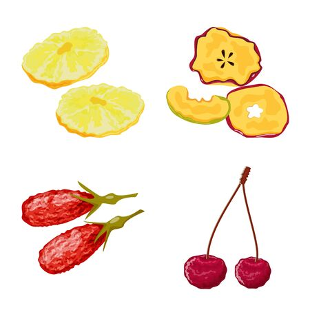Vector illustration of fruit and dried icon. Set of fruit and food stock symbol for web.