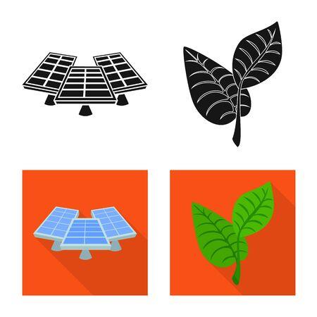 Vector illustration of innovation and technology sign. Set of innovation and nature stock vector illustration. Иллюстрация