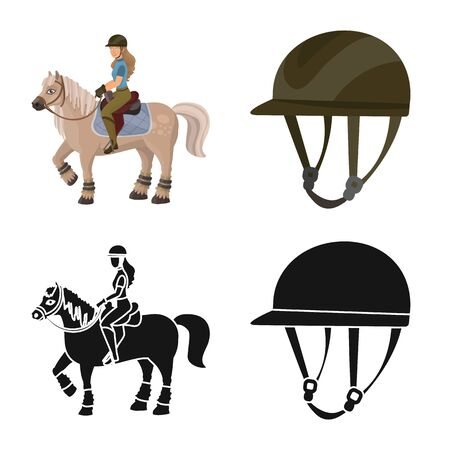 Vector design of equipment and riding logo. Set of equipment and competition vector icon for stock.