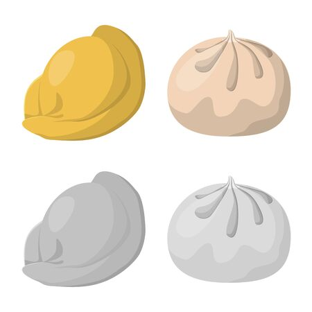 Vector design of products and cooking icon. Set of products and appetizer stock vector illustration.  イラスト・ベクター素材