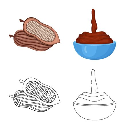 Isolated object of food and yummy symbol. Collection of food and brown stock symbol for web. Foto de archivo - 129981798