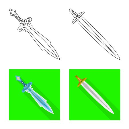 Vector design of game and armor icon. Collection of game and blade vector icon for stock. Иллюстрация
