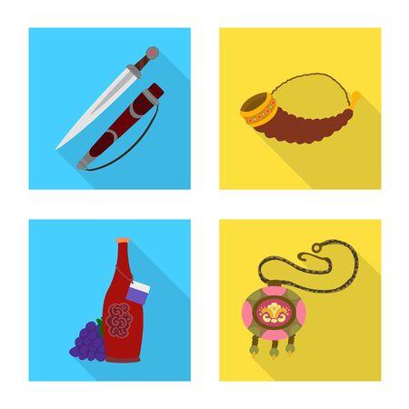 Vector illustration of culture and sightseeing. Collection of culture and originality stock vector illustration. Иллюстрация