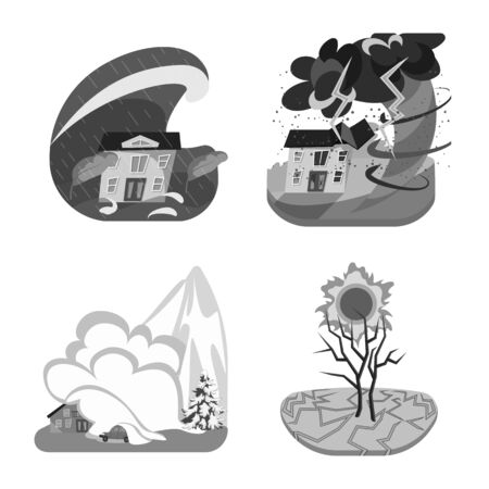 Vector illustration of nature and apocalypse symbol. Set of nature and environment vector icon for stock. Illustration