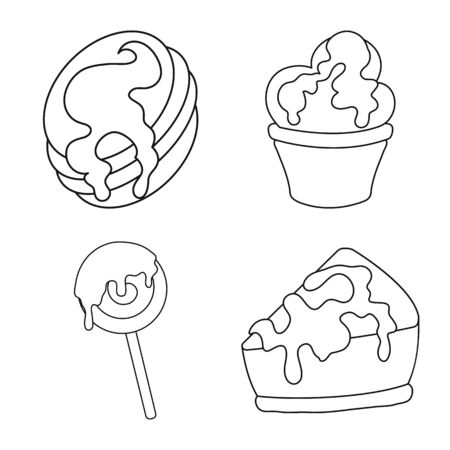 Vector illustration of sweet and product icon. Set of sweet and caramel vector icon for stock.