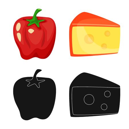Vector illustration of taste and product icon. Set of taste and cooking stock vector illustration.