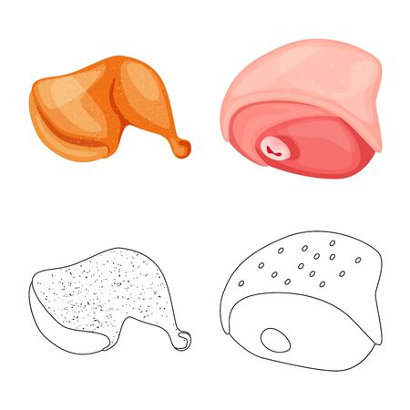 Vector illustration of product and poultry sign. Collection of product and agriculture vector icon for stock.  イラスト・ベクター素材
