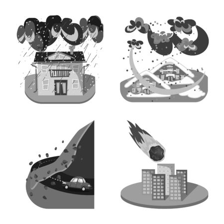 Vector illustration of nature and apocalypse. Collection of nature and environment stock symbol for web.