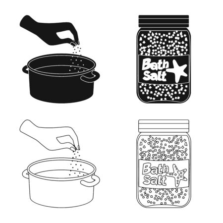 Vector illustration of cooking and sea. Collection of cooking and baking vector icon for stock.