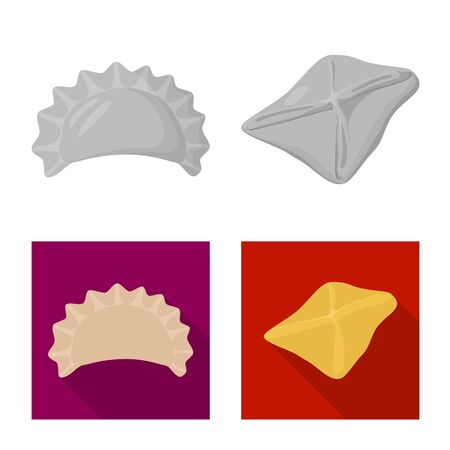 Vector illustration of products and cooking icon. Collection of products and appetizer vector icon for stock.