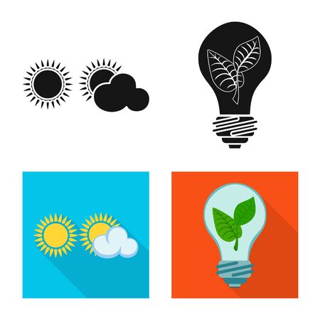 Isolated object of innovation and technology icon. Set of innovation and nature stock symbol for web. Çizim