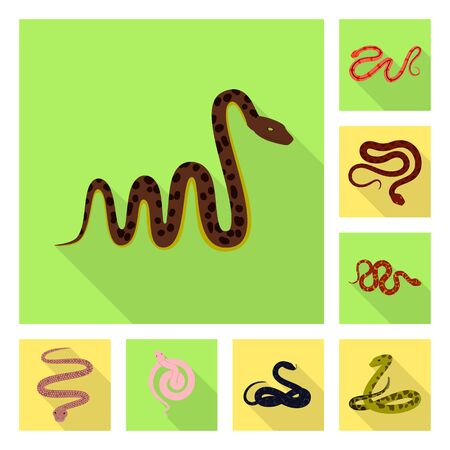 Isolated object of skin and reptile sign. Collection of skin and danger stock vector illustration. Çizim