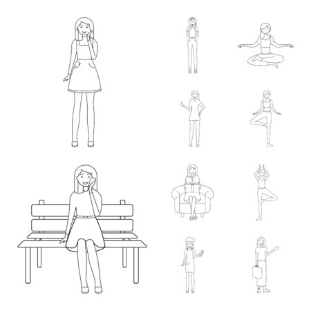Vector design of posture and mood symbol. Set of posture and female stock symbol for web.