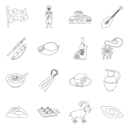Isolated object of traditions and national logo. Set of traditions and sightseeing vector icon for stock.