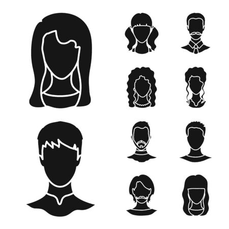 Vector design of character and profile sign. Collection of character and dummy vector icon for stock.