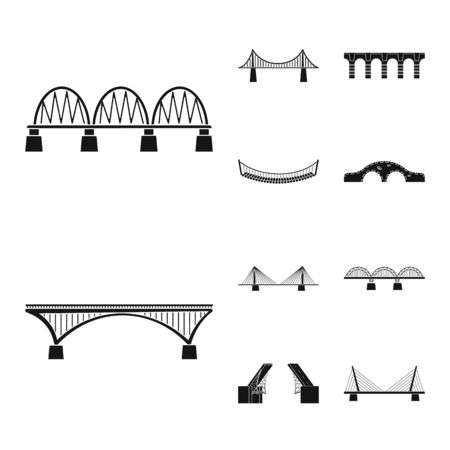 Vector design of construct and side sign. Set of construct and bridge stock vector illustration.