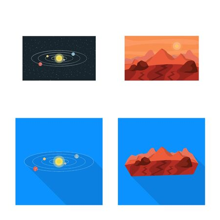 Vector design of astronomy and technology. Set of astronomy and sky vector icon for stock. Çizim