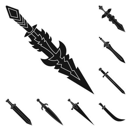 Vector illustration of sharp and blade symbol. Set of sharp and dagger stock vector illustration. Иллюстрация