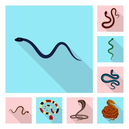 Isolated object of skin and reptile sign. Collection of skin and danger stock symbol for web.