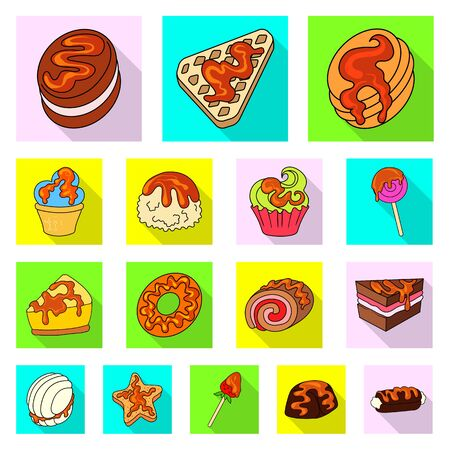Isolated object of confectionery and culinary sign. Set of confectionery and colorful stock symbol for web. Иллюстрация