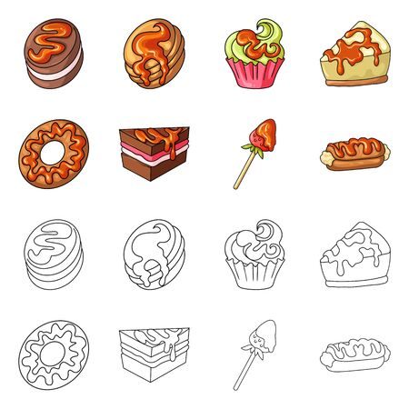 Isolated object of confectionery and culinary. Set of confectionery and product vector icon for stock. Ilustração