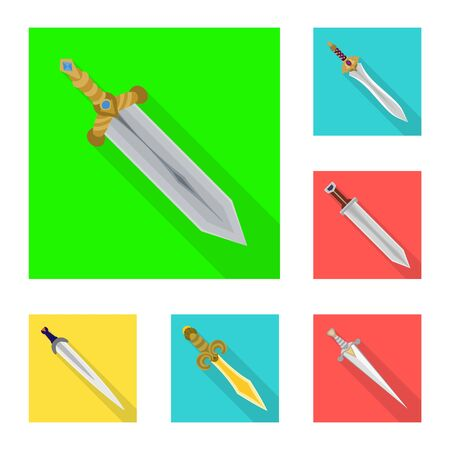Vector design of and sword. Set of and knife stock vector illustration. Иллюстрация