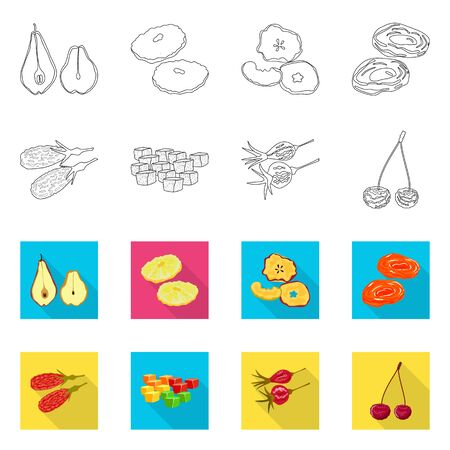 Vector illustration of food and raw icon. Collection of food and nature stock vector illustration.
