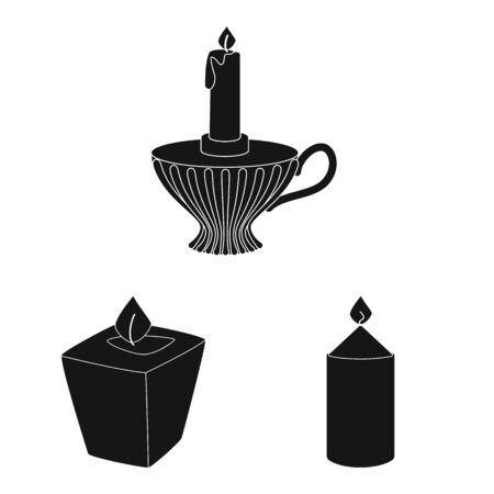 Vector illustration of candlelight and decoration. Collection of candlelight and wax vector icon for stock. Фото со стока - 129980857