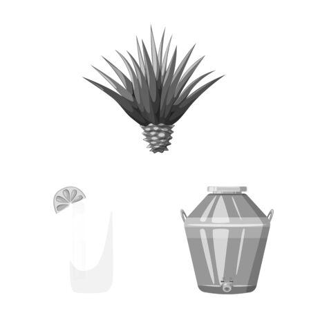 Vector design of fajita and fiesta sign. Set of fajita and celebration stock symbol for web.