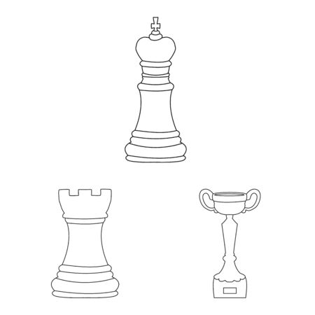 Vector design of piece and strategy. Set of piece and play vector icon for stock.