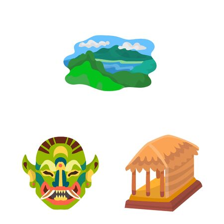 Isolated object of bali and indonesia. Collection of bali and caribbean stock vector illustration.  イラスト・ベクター素材