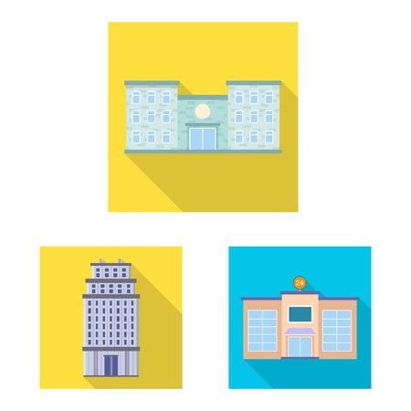 Vector illustration of municipal and center icon. Set of municipal and estate stock symbol for web.