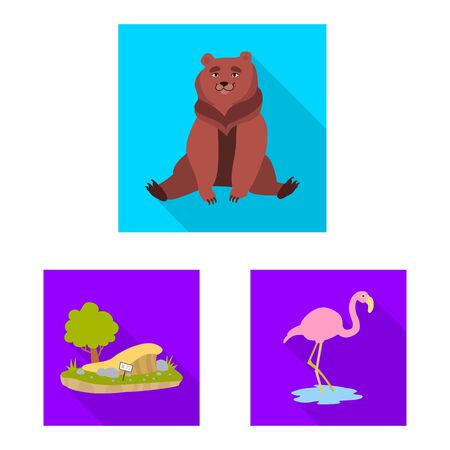 Isolated object of safari and animal sign. Set of safari and fun vector icon for stock.