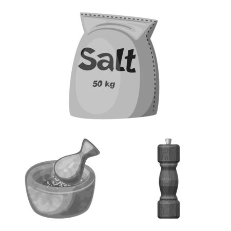 Vector design of salt and food icon. Set of salt and mineral vector icon for stock.