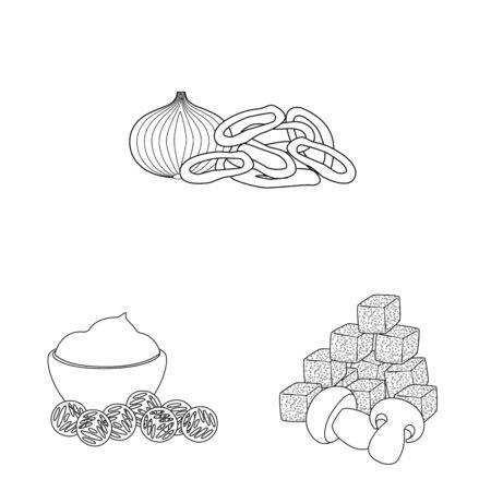 Vector illustration of taste and crunchy logo. Set of taste and cooking stock vector illustration.